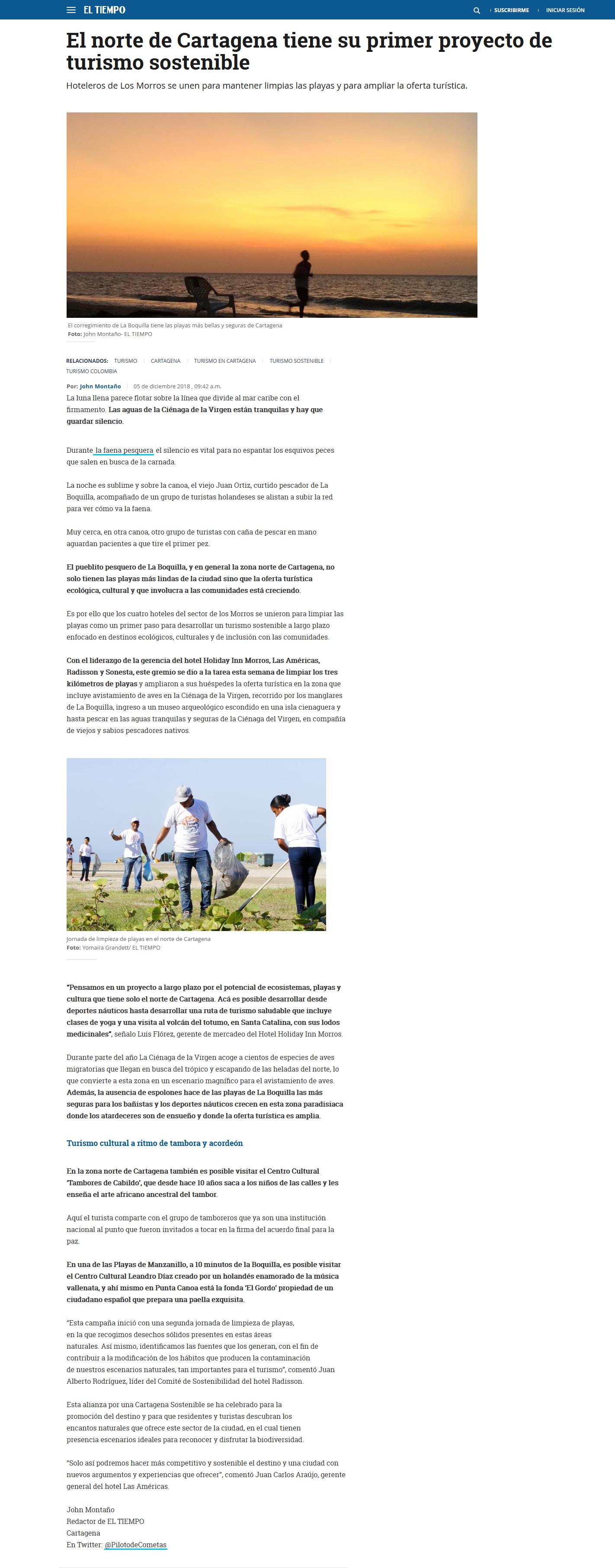 El norte de Cartagena tiene su primer proyecto de turismo sostenible